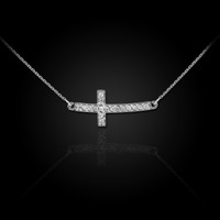 White Gold Diamond Sideways Cross Necklace