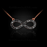 14K Rose Gold Infinity Necklace with Black Diamonds