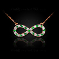 14K Rose Gold Infinity Necklace with Diamonds and Emeralds