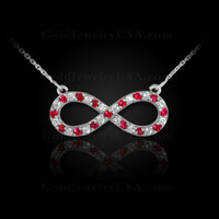 14K White Gold Infinity Necklace with Diamonds and Rubies