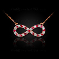 14K Rose Gold Infinity Necklace with Diamonds and Rubies