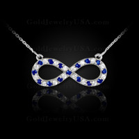 Blue Sapphire Infinity Necklace 14K white gold.