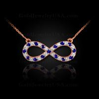 14K Rose Gold Infinity Necklace with Diamonds and Sapphires