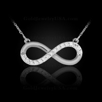 white gold infinity necklace with diamonds