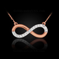 14K Polished Rose Gold Diamond Infinity Necklace