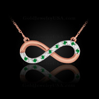 Rose Gold infinity necklace with emerald.
