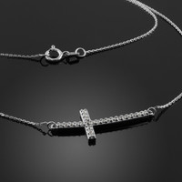 14K White Gold Sideways Diamond Curved Cross Pendant Necklace