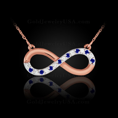 Rose Gold infinity diamond necklace with blue sapphires.