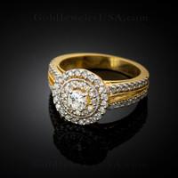 14k Yellow Gold 0.96 ct Diamond Engagement Ring