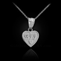 White Gold 'BFF' Heart Charm Necklace