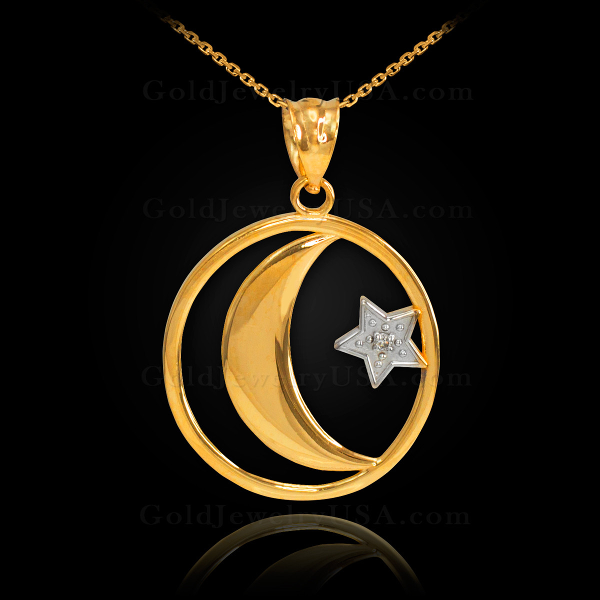 Gold crescent moon with diamond star islamic pendant necklace aloadofball Images