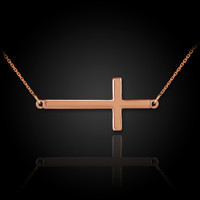 14k solid rose gold sideways cross