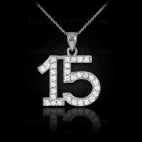 14K White Gold Quinceanera 15 Anos Diamond Necklace Pendant
