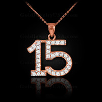 14K Rose Gold Quinceanera 15 Anos Diamond Necklace Pendant