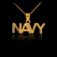 Gold NAVY Pendant Necklace