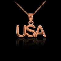 Rose Gold USA Pendant Necklace
