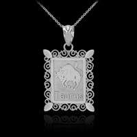 Polished White Gold Taurus Zodiac Sign Rectangular Pendant Necklace