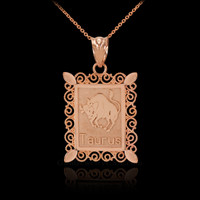 Polished Rose Gold Taurus Zodiac Sign Rectangular Pendant Necklace