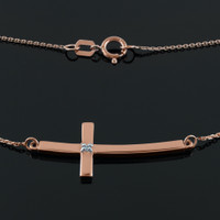 14K Rose Gold Sideways Curved Diamond Cross Necklace