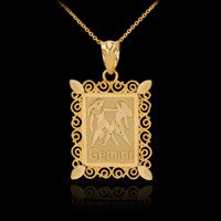 Gold Gemini Zodiac Sign Filigree Square Pendant Necklace