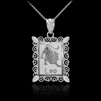 Polished White Gold Leo Zodiac Sign Rectangular Pendant Necklace