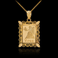Gold Virgo Zodiac Sign Filigree Square Pendant Necklace