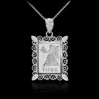 White Gold Virgo Zodiac Sign Filigree Square Pendant Necklace