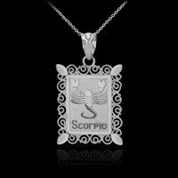 White Gold Scorpio Zodiac Sign Filigree Square Pendant Necklace