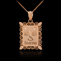 Rose Gold Scorpio Zodiac Sign Filigree Square Pendant Necklace