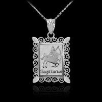 White Gold Sagittarius Zodiac Sign Filigree Pendant Necklace