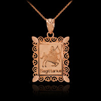 Rose Gold Sagittarius Zodiac Sign Filigree Pendant Necklace