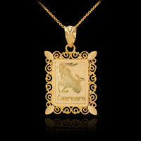 Gold Capricorn Zodiac Sign Filigree Square Pendant Necklace