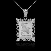 White Gold Capricorn Zodiac Sign Filigree Square Pendant Necklace