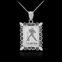 Polished White Gold Aquarius Zodiac Sign Rectangular Pendant Necklace