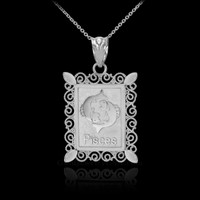 White Gold Pisces Zodiac Sign Filigree Square Pendant Necklace
