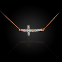 Rose Gold Diamond Sideways Cross Necklace