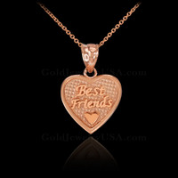 3pc Rose Gold 'Best Friends' Heart Charm Necklace