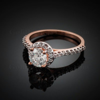 Dainty Rose Gold CZ Engagement Ring with diamonds. Clear CZ Birthstone (Apr)