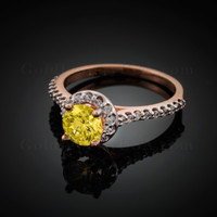 14K Dainty Rose Gold Citrine Halo Diamond Engagement Ring