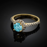 14K Dainty Gold Aquamarine Solitaire Halo Diamond Engagement Ring
