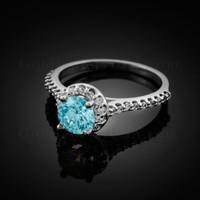 14K Dainty White Gold Aquamarine Solitaire Halo Diamond Engagement Ring