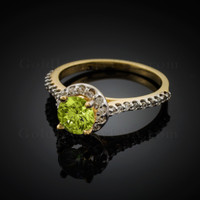 14K Dainty Gold Peridot Solitaire Halo Diamond Engagement Ring
