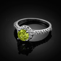 14K Dainty White Gold Peridot Solitaire Halo Diamond Engagement Ring