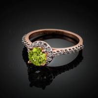 14K Dainty Rose Gold Peridot Solitaire Halo Diamond Engagement Ring