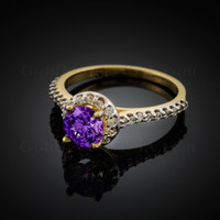 14K Dainty Gold Amethyst Solitaire Halo Diamond Engagement Ring