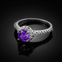 14K Dainty White Gold Amethyst Solitaire Halo Diamond Engagement Ring