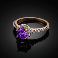 14K Dainty Rose Gold Amethyst Solitaire Halo Diamond Engagement Ring