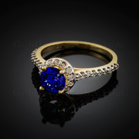 14K Dainty Gold Blue Sapphire Solitaire Halo Diamond Engagement Ring