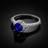 14K Dainty White Gold Blue Sapphire Solitaire Halo Diamond Engagement Ring
