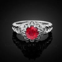 14K White Gold Braided Halo Ruby CZ Engagement Ring With Diamond Accents